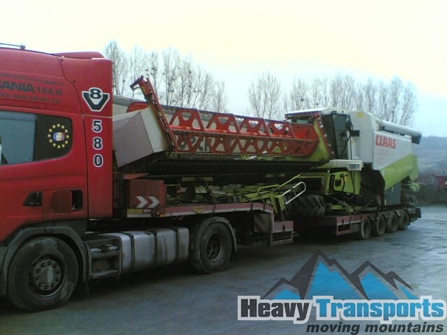 Transportul internaţional al unei combine agricole CLASS Lexion 460 cu încărcare din Smidary, Cehia la Craiova, jud. Dolj, România